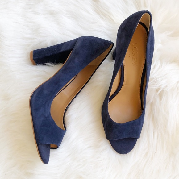 d5d51715b513 J. Crew Shoes - J. Crew leather peep toe heels in blue size 5.5